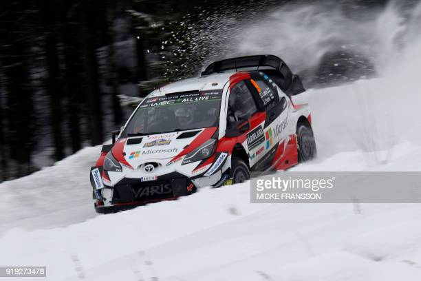 Esapekka Lappi of Finland drives his Toyota Yaris WRC during day 3 of the Rally of Sweden as part of the World Rally Championship in Hagfors Sweden...
