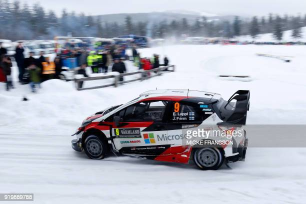Esapekka Lappi of Finland drives his Toyota Yaris WRC to place fourth on the last day of the Rally Sweden 2018 as part of the World Rally...
