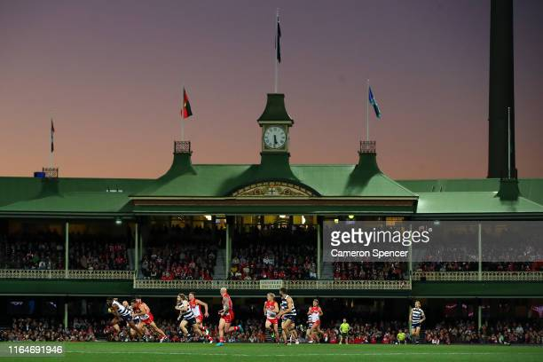 Esava Ratugolea of the Cats runs the bal during the round 19 AFL match between the Sydney Swans and the Geelong Cats at Sydney Cricket Ground on July...