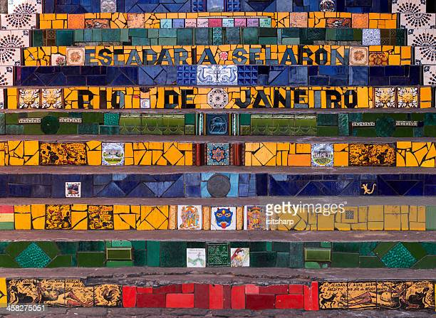 escadaria selarón - limpet stock photos and pictures