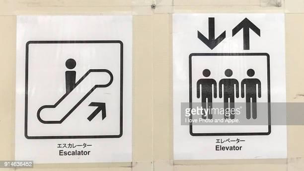 Escalator and elevator signs