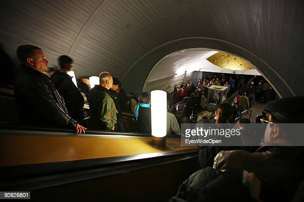 Escalator at Metro Station Revoljicii Revolution square on October 14 2009 in Moscow Russia Moscow is the biggest European City with more than 15...