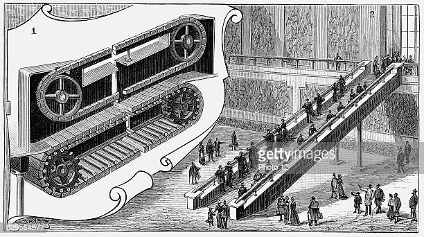 Escalator at the Pennsylvania Railroad Company's Cortland Street Station New YorkRenoCail system electrically powered length 13m elevation 6m1893Wood...