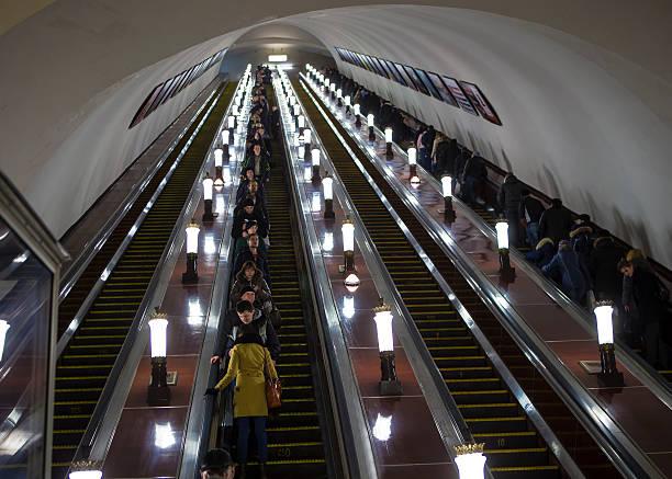 Escalator in Novoslobodskaja metro station Moscow