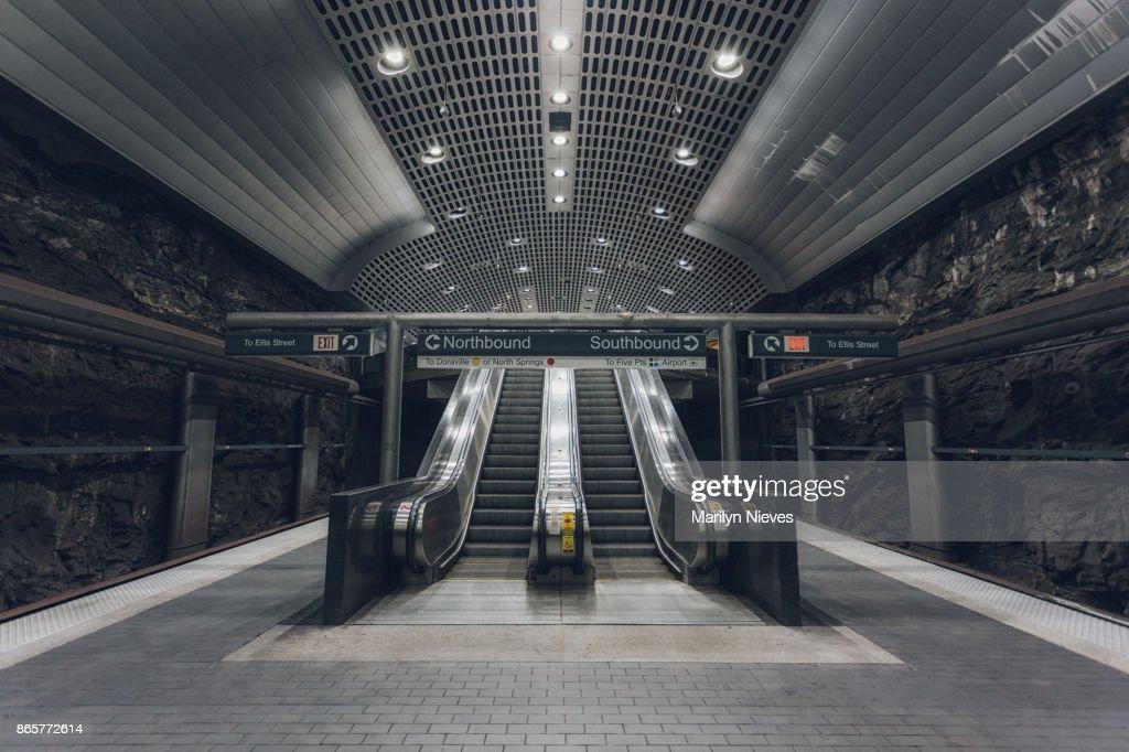 escalator in station : Stock Photo
