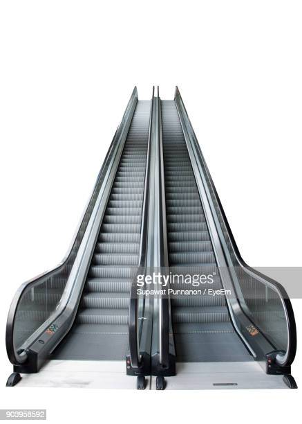 escalator over white background - escalator stock pictures, royalty-free photos & images