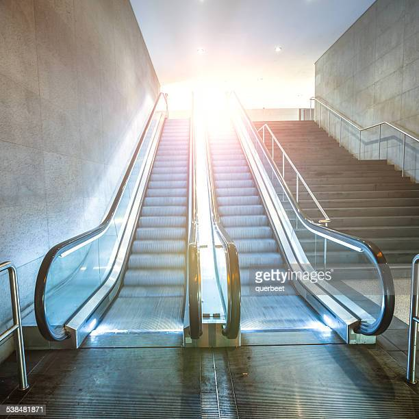 Escalator with sunlight