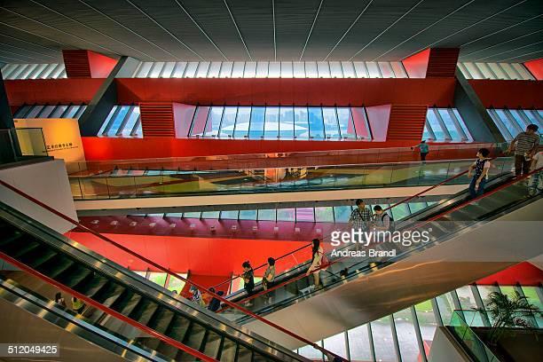 Escalators and interior architecture at China Art Museum Shanghai