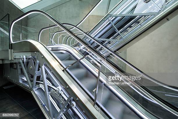Escalators pictured at the lobby of the new elevator testing tower of ThyssenKrupp Elevator on December 20 2016 in Rottweil Germany The tower at 246...