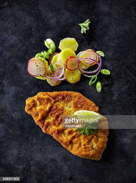 escalope and fried potatoes on dark ground - breaded fotografías e imágenes de stock
