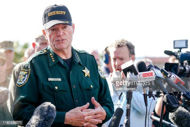 Escambia County Sheriff David Morgan speaks to press following a shooting on the Pensacola Naval Air Base on December 06, 2019 in Pensacola, Florida....