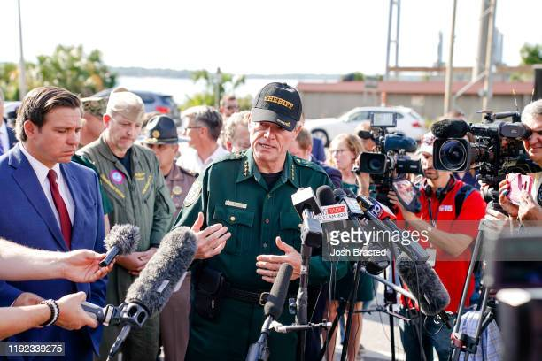 Escambia County Sheriff David Morgan speaks to press following a shooting on the Pensacola Naval Air Base on December 06 2019 in Pensacola Florida...