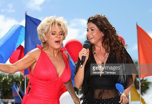 Escandalo TV host Charytin Goyco and singer Paty Manterola on stage during TeleFutura's 'Reventon Del 4 De Julio show special live from the...