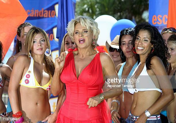 Escandalo TV host Charytin Goyco on stage during TeleFutura's 'Reventon Del 4 De Julio show special live from the Doubletree Surfcomber Hotel on July...