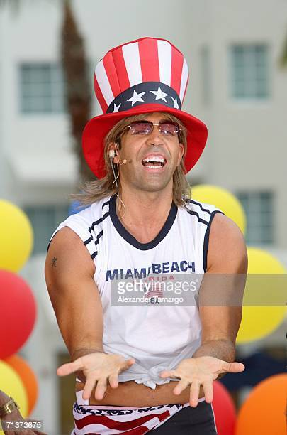Escandalo TV host Felipe Viel on stage during TeleFutura's 'Reventon Del 4 De Julio show special live from the Doubletree Surfcomber Hotel on July 4...
