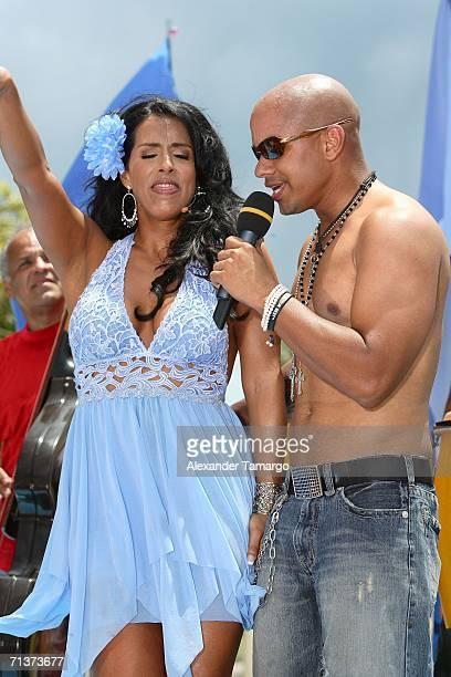 Escandalo TV host Marisa del Portillo and singer Michael Stuart during TeleFutura's 'Reventon Del 4 De Julio show special live from the Doubletree...