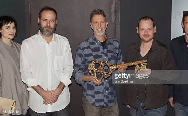 Escape the Rooms creator Victor Blake executive producer/creators Tim Kring and Gideon Raff attend the Dig Escape The Room event at 22 Little West...
