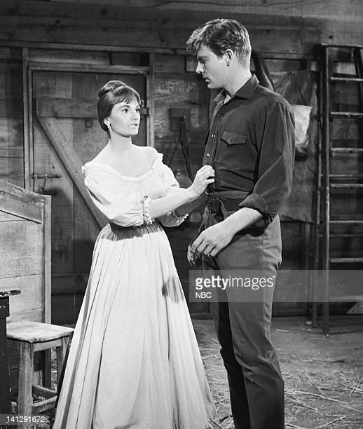 BONANZA Escape to Ponderosa Episode 25 Aired 3/5/60 Pictured Gloria Talbott as Nedda Grant Williams as Lt Paul Tyler Photo by NBCU Photo Bank