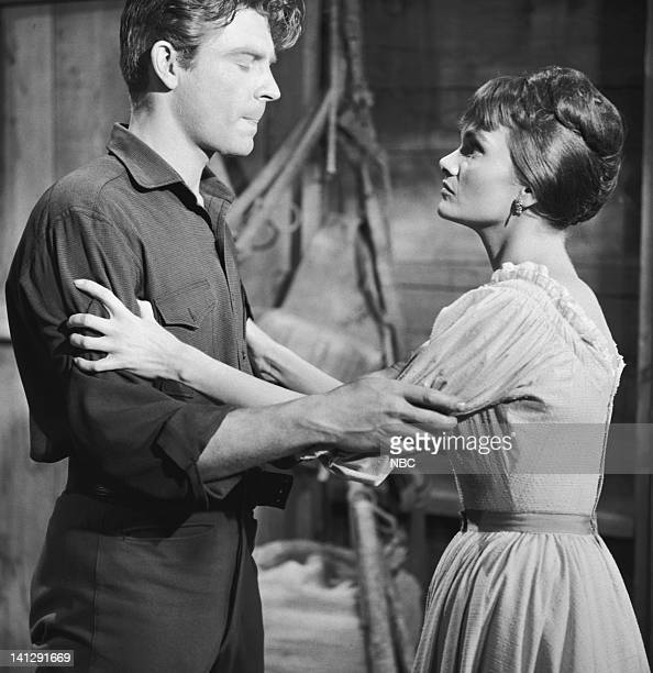 BONANZA Escape to Ponderosa Episode 25 Aired 3/5/60 Pictured Grant Williams as Lt Paul Tyler Gloria Talbott as Nedda Photo by NBCU Photo Bank