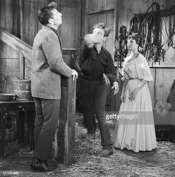BONANZA Escape to Ponderosa Episode 25 Aired 3/5/60 Pictured Joe Maross as Jimmy Sutton Grant Williams as Lt Paul Tyler Gloria Talbott as Nedda Photo...