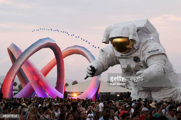 Escape Velocity art installation by Poetic Kinetics is seen during day 1 of the 2014 Coachella Valley Music Arts Festival at the Empire Polo Club on...