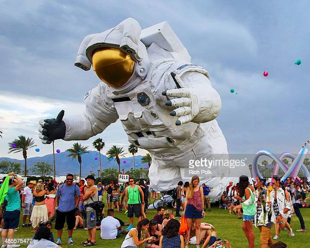 Escape Velocity art istallation by Poetic Kinetics is seen during day 1 of the 2014 Coachella Valley Music Arts Festival at the Empire Polo Club on...