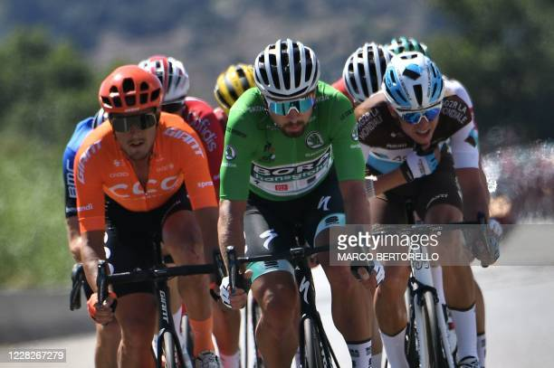 Escapees led by Team Bora rider Slovakia's Peter Sagan wearing the best sprinter's green jersey ride during the 2nd stage of the 107th edition of the...