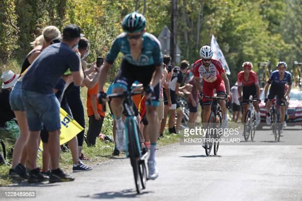Escapees Team Vital Concept Cycling Club rider France's Pierre Rolland, Team Cofidis rider Spain's Jose Herrada Lopez, Team CCC rider Germany's Simon...
