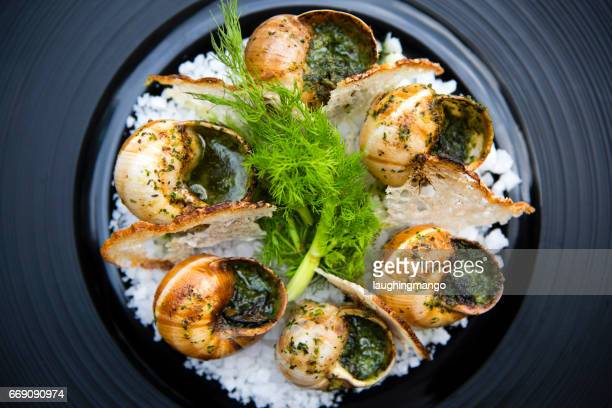 escargot edible snail french cuisine - snail stock photos and pictures