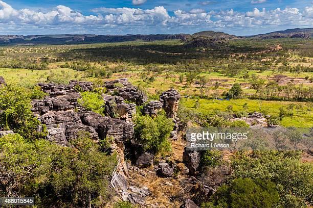 escarpment & floodplain from injalak hill - escarpment stock pictures, royalty-free photos & images