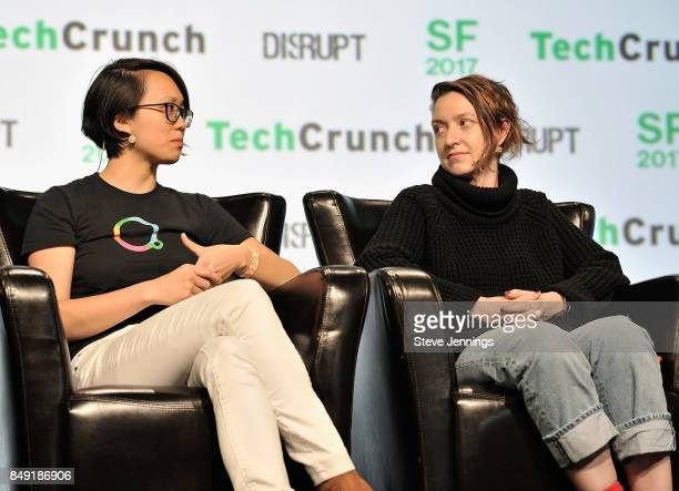 Escher Reality CTO Diana Hu and Founders Fund Partner Cyan Banister speak onstage during TechCrunch Disrupt SF 2017 at Pier 48 on September 18 2017...