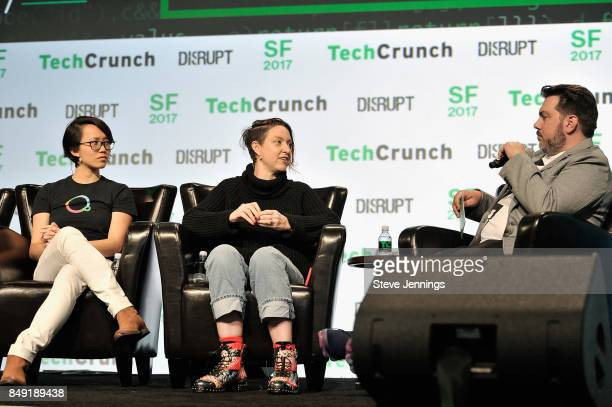 Escher Reality CTO Diana Hu Founders Fund Partner Cyan Banister and TechCrunch moderator c speak onstage during TechCrunch Disrupt SF 2017 at Pier 48...