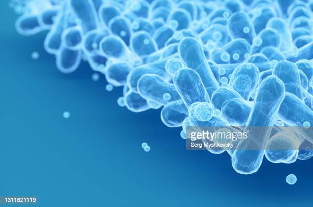escherichia coli bacteria on blue background. 3d render illustration - microbiology stock pictures, royalty-free photos & images