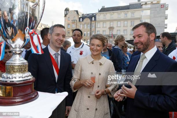 Esch-sur-Alzette's mayor Georges Mischo and Grand-Duc Heritier Guillaume and Grande-Duchesse Heritiere Stephanie of Luxembourg visit Esch-sur-Alzette...
