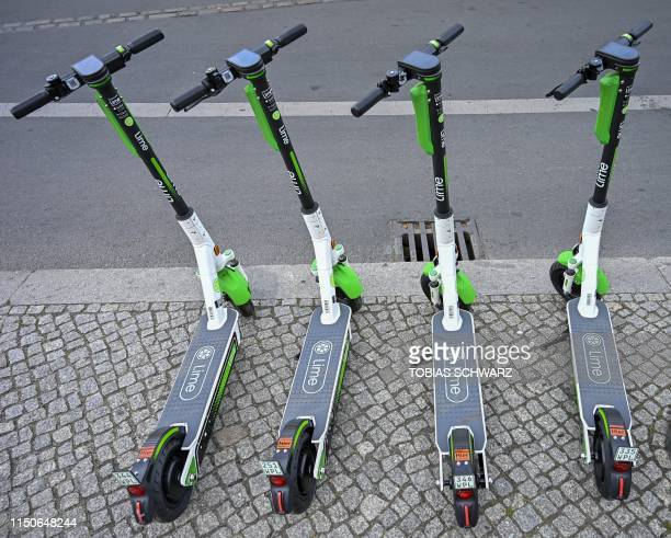 Escooter for rent are parked in the center of Berlin on June 19 2019 Germany had authorised on last May 17 2019 batterypowered scooters on its...