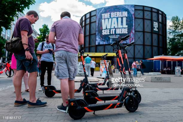 Escooters from German company CIRC are seen at Berlin's Checkpoint Charlie on June 23 2019 Germany authorised batterypowered scooters on its streets...