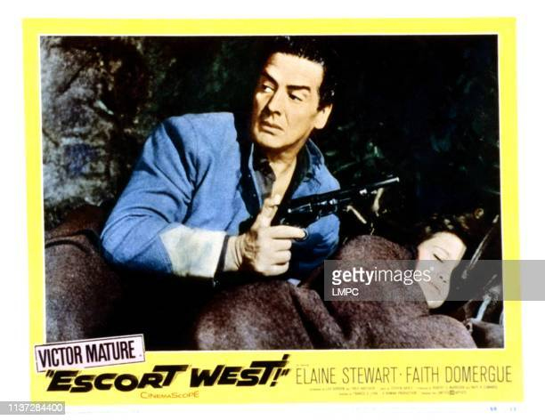 Escort West, lobbycard, from left, Victor Mature, Faith Domergue, 1958.