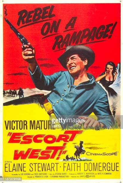 Escort West poster US poster Victor Mature Faith Domergue 1958