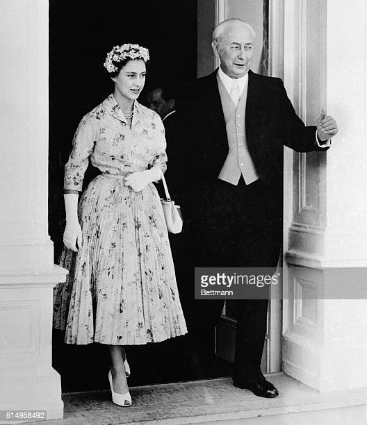 Escorted by West German President Theodor Heuss Princess Margaret Rose of England leaves the Villa Hammershmidt in Bonn Germany on July 12th The...
