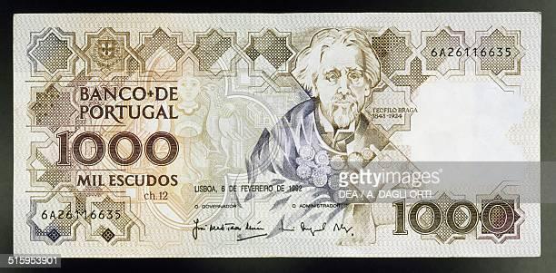 Escudos banknote, 1990-1999, obverse, Teofilo Braga . Portugal, 20th century.