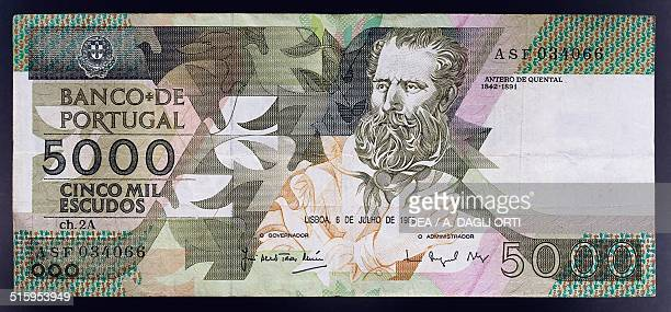5000 escudos banknote obverse Antero de Quental Portugal 20th century