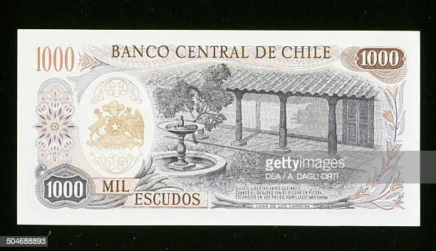 1000 escudos banknote reverse Casa Carrera Chile 20th century