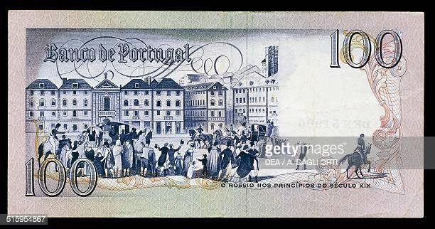 Escudos banknote reverse, Rossio square in Lisbon at the beginning of the 19th century. Portugal, 20th century.