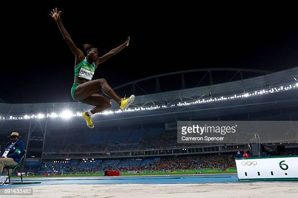 Ese Brume of Nigeria competes in the Women's Long Jump final on Day 12 of the Rio 2016 Olympic Games at the Olympic Stadium on August 17 2016 in Rio...