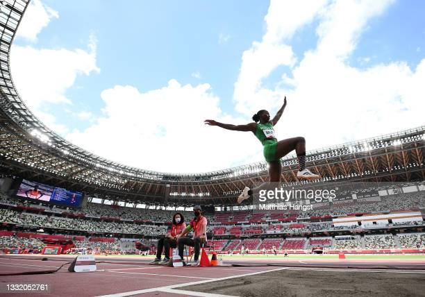 Ese Brume of Team Nigeria competes in the Women's Long Jump Final on day eleven of the Tokyo 2020 Olympic Games at Olympic Stadium on August 03, 2021...