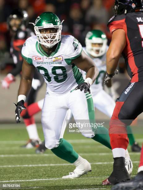 Ese Mrabure of the Saskatchewan Roughriders looks to crack the Ottawa Redblacks offensive line The Saskatchewan Rough Riders defeated the Ottawa...