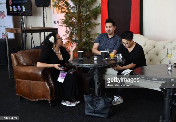 Eseel Borlasa filmmaker Andrew Ahn and Tracy NguyenChung attend the 2017 Los Angeles Film Festival Artist Development Mentor Brunch at the Festival...