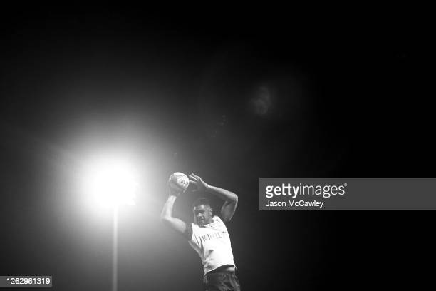 Esei Ha'angana of the Rebels competes in a lineout during the round five Super Rugby AU match between the Western Force and the Melbourne Rebels at...