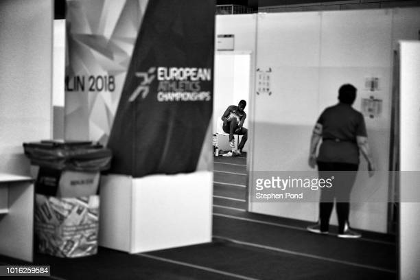 Eseosa Desalu of Italy prepares in the call room ahead of competing in the Men's 200m final during day three of the 24th European Athletics...