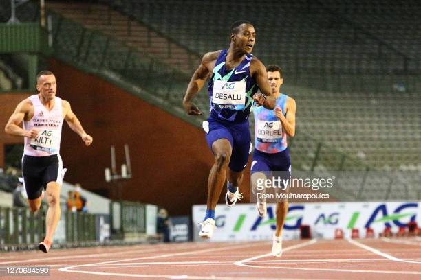 Eseosa Desalu of Italy wins the 200 metres competition during the Memorial Van Damme Brussels 2020 Diamond League meeting at King Baudouin Stadium on...